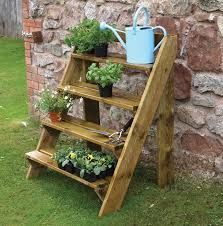 Grange Pressure Treated Wooden Steps Garden Plant Pot Stand Wooden Garden Plant Ladder by Grange (UK Plant Ladder, Garden Ladder, Wooden Garden Planters, Decorative Planters, Wall Planters, Decorative Items, Patio Plants, Outdoor Plants, Potted Plants