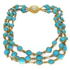 Vintage 1950s French Gripoix Turquoise Blue Pate De Verre Glass Bead Necklace | Clarice Jewellery