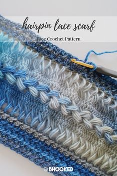 Waves Hairpin Lace Crochet Scarf - B.Hooked Crochet & Knitting - - Practice your hairpin lace skills by crocheting a gorgeous scarf with this free pattern and video tutorial from B. Hairpin Lace Crochet, Hairpin Lace Patterns, Broomstick Lace Crochet, Loom Crochet, Crochet Lace Dress, Crochet Scarves, Crochet Patterns, Crochet Edgings, Crochet Tunic