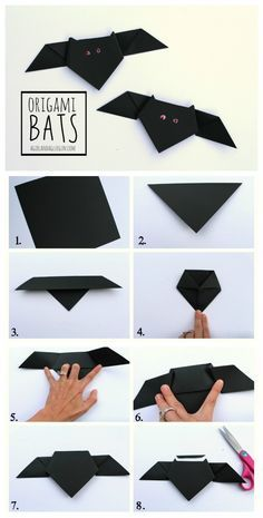 origami bats how to! Great kids crafts for school or decorate your wall for Halloween