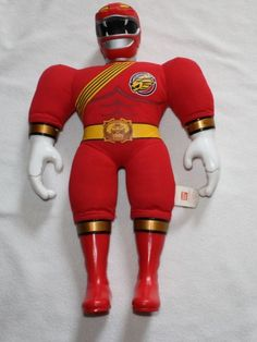 """Power Rangers Red Plush Sound Effects Wild Force Toy Large 21"""" Bandai"""