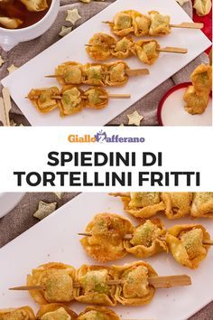 Gli spiedini di tortellini fritti con salsa alla panna e Parmigiano sono un anti… The tortellini skewers fried with cream sauce and Parmesan are a truly original and imaginative appetizer, suitable for Christmas parties and not only … Try them now! World Recipes, Wine Recipes, Indian Food Recipes, Pasta Recipes, Italian Recipes, Ethnic Recipes, Tortellini Skewers, Fingers Food, My Favorite Food