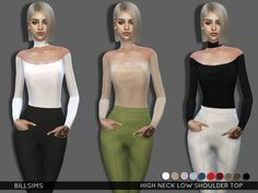 The Sims Resource: High Neck Low Shoulder Top by Bill Sims • Sims 4 Downloads