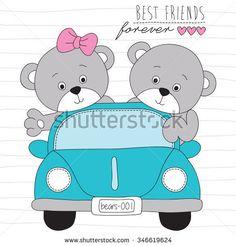 cute teddies bears on the road vector illustration Road Vector, Cute Bear, Bear Felt, Baby Painting, Applique Templates, Cute Clipart, Name Banners, En Stock, Cute Illustration