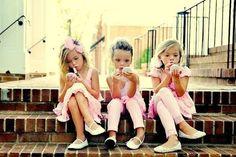little girls putting on make-up