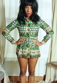 60's shirt mini dress