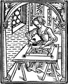 woodcut of lady using prick and pounce method to transfer pattern to fabric Medieval Embroidery, Embroidery Tools, Blackwork Embroidery, Cross Stitch Embroidery, Embroidery Patterns, Vintage Embroidery, Medieval Life, Medieval Art, Renaissance Image