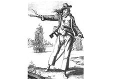 ANNE BONNY, a redheaded pirate. ~ETS (Born Anne Cormac in 1698, this Irish lass with luscious red locks and a dangerous temper became an icon of The Golden Age of Piracy (1650s-1730s) after marrying small-time pirate James Bonny. Anne's respectable father disowned her over the marriage, so she and her new husband moved to a portion of the Bahamas nicknamed the Pirates Republic, a sanctuary of sorts for scalawags. But the Bonnys were not happily married for long...