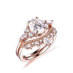 Oval Moissanite Engagement Ring Bridal Sets Tiara Diamond Wedding Band 14k Rose Gold 6x8mm - 4.75 / 14K Rose Gold