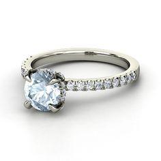 Round Aquamarine Palladium Ring with Diamond   Carrie Ring   Gemvara