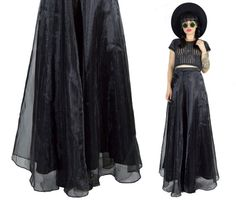 vintage 90s black maxi skirt sheer mesh high waisted by AsIfStore