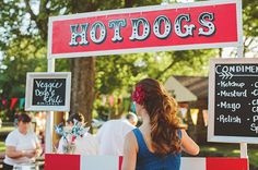 We love food stations for weddings and this hot dog stand is even better!