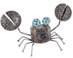 Made in the USA - Canister Crab Yard Art.  Made from recycled and scrap metals!