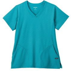 Women's V-neck Solid Illusion Hybrid Top - Teal