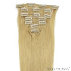 Straight 20'' 7pcs Clips on Remy Human Hair Extensions 24 70g with Clips New | eBay