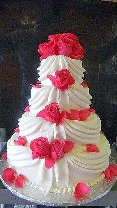 Elegante Pastel con Rosas. Tartas originales.