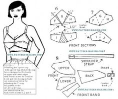 Drafting a bra pattern - includes section on how to increase or decrease cup size.
