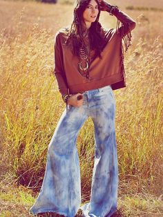 Flare jeans are back again!!!!!  Free People Tie Dye Extreme Vintage Flare, $168.00