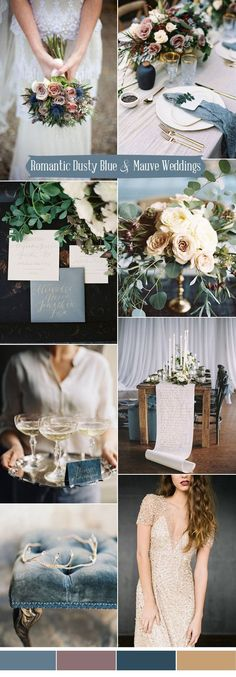 romantic dusty blue,mauve and gold wedding ideas