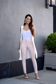 Jessica Ricks. Boohoo vest, Zara pink pants, Asos Shirt, Aldo Clutch, Schutz heels. Beauty on High Heels #Fashion