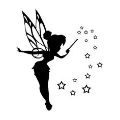 Clip art silhouette pictures of Tinkerbell to be used to create either stencils or decals Tattoo Tinkerbell, Tinkerbell Disney, Fairies Tattoo, Disney Fairies, Disney Tattoos, Machine Silhouette Portrait, Tinker Bell Tattoo, Disney Princess Silhouette, Belle Tattoo