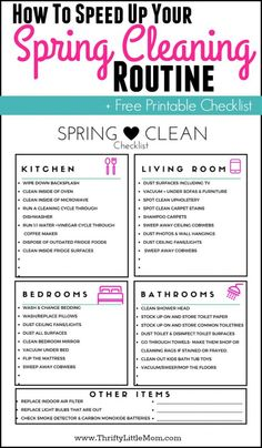 to Speed Up Your Spring Cleaning Routine! Includes free printable Spring Clean checklist from Thrifty Little Mom!How to Speed Up Your Spring Cleaning Routine! Includes free printable Spring Clean checklist from Thrifty Little Mom! Deep Cleaning Tips, House Cleaning Tips, Cleaning Solutions, Spring Cleaning, Cleaning Hacks, Cleaning Checklist, Cleaning Lists, Cleaning Schedules, Cleaning Routines