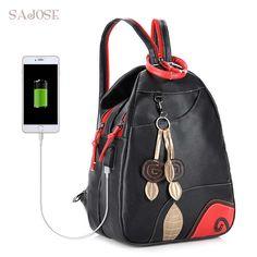 275ac4fbd1 SAJOSE NEW Fashion Leaves Student Style Women s Shoulder Bag Multifunction  USB Girls Leather Backpack School Bag Women Backpacks