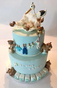 Ku krstu torta, Autorka: SissaV Baby Shower Cakes For Boys, Babyshower, Fondant, Hello Kitty, Birthday, Desserts, Cakes, Ideas, Announce Pregnancy
