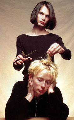 Thom Yorke & Jonny Greenwood, an old Radiohead book — book from 1996, photo from 1993-ish.