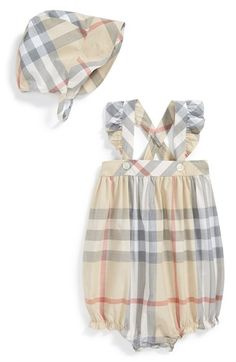 Burberry 'Pippion' Check Cotton Playsuit & Bonnet (Baby Girls) available at #Nordstrom
