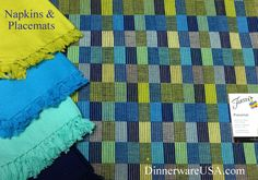The Fiesta plaid placemats are so great, I love this color palette and how it goes so well with the Fiesta Napkins - Lemongrass, Peacock, Turquoise and Cobalt