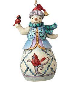 Love this Snowman & Cardinal Ornament on #zulily! #zulilyfinds