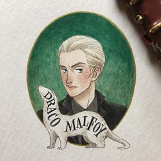 My father will hear about this... notice how I made his portrait parallel to Lucius'? #dracomalfoy #potterportraits #harrypotter #hpcdrawing #fanart #painting #gouache #watercolor #drawing #art #artwork #illustration