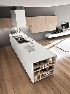 Cucina componibile con isola SINTESI.30 PENISOLA Collezione Sintesi.30 by Comprex design MARCONATO