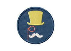 Hipster Badge Mustache Machine Embroidery Design