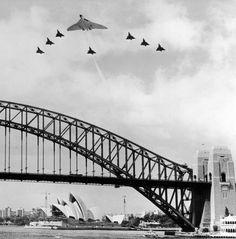 Vulcan with an Australian Airforce escort over Sydney Harbour