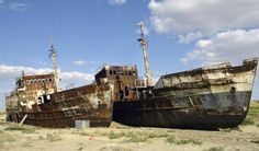 """In early April United Nations Secretary-General Ban Ki-moon traveled to Central Asia, where he laid eyes upon a """"graveyard of ships"""" — rusting fishing trawlers and other vessels stranded in. Ban Ki Moon, Global Warming Climate Change, Abandoned Ships, Simple Words, Central Asia, When Someone, Paris Skyline, Environment, Earth"""