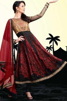 Black and Cardinal Red Chiffon Embroidered Party and Festival Anarkali Kameez Readymade Salwar Kameez, Churidar Suits, Anarkali Churidar, Kurti, Indian Salwar Suit, Indian Suits, Salwar Suits Online, Salwar Kameez Online, Lehenga Style