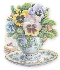 Carol Wilson Fine Arts Stationery Pansy Teacup Blank Greeting Card