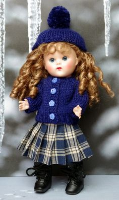 "**DReaMiNG iN BLuE** for Ginny, Muffie Too! MADE TO ORDER: 3 PC Handknit Outfit fits 7.5"" Vogue Ginny-Reproduction and Vintage Dolls, also Muffie, Ginger, and Madame Alexander dolls.  MADE TO ORDER: WILL BE FINISHED AND AT YOUR DOOR IN APPROX. 2+ WEEKS OR LESS. Consists of the Hat with pom-pom, handknit sweater, and the cute pleated, plaid skirt all in GORGEOUS blue tones. Click the pix to take you to the special order page on my website."