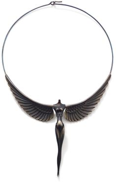 Nike necklace, by Paul Wunderlich  The central articulated pendant designed as the body of Nike, the sculptural outstretched wings continued by a single wire, terminating in a shepherd's crook fastening, signed 'Wunderlich' to the reverse, numbered 1701, pendant length 9 cm.
