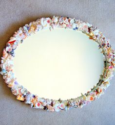 Beach Decor Custom Shell Mirror - Nautical Seashell Mirror w Optional Sea Glass, Oval