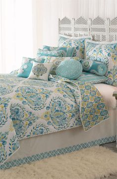 Love this with turquoise walls, white linens. Dena Home 'Breeze' Quilt available at Nordstrom