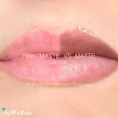 Compare Pink Matte Gloss vs. Matte Gloss using this photo.  Pink Matte Gloss is part of the Posh Pastels LipSense Collection by SeneGence - for your perfect Spring lips.