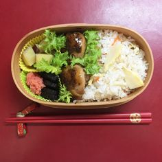 Seasoned rice with Bamboo shoots – Japanese lunch box