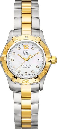 TAG Heuer Watch Aquaracer #bezel-unidirectional #bracelet-strap-gold #brand-tag-heuer #buckle-type-push-button #case-material-yellow-gold #case-width-27mm #date-yes #delivery-timescale-call-us #dial-colour-white #gender-ladies #luxury #movement-quartz-battery #official-stockist-for-tag-heuer-watches #packaging-tag-heuer-watch-packaging #subcat-aquaracer #supplier-model-no-waf1425-bb0825 #warranty-tag-heuer-official-2-year-guarantee #water-resistant-300m