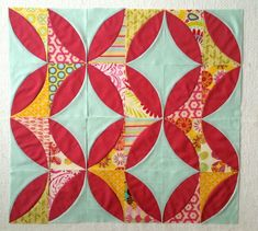 Mod Olives Quilt made with the Quick Curve Ruler.