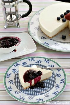 Chilled Yogurt Cake with Blueberry Compote