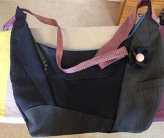 Upcycled bag from suit jackets