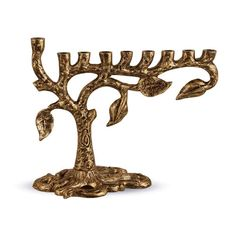 Zion Judaica Artistic Menorah Tree of Life (Antique Gold): New Tree-of-life Menorah by Naftali Scizner. A unique hand crafted design with exceptional real life detail. Made of cast iron with antiqued silver finish. Shabbat Candles, Hanukkah Candles, Hanukkah Menorah, Hanukkah Gifts, Jewish Gifts, Electric Menorah, Artistic Tree, Jewish Celebrations